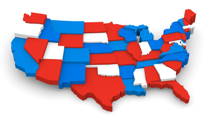 USA red white and blue map image.