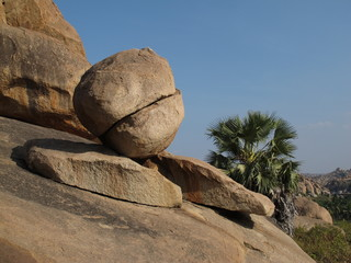 Unique balancing granite boulder in Hampi, India