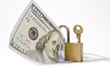 Dollar bill with padlock
