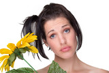 Quirky funny portrait of lady with sunflower poster