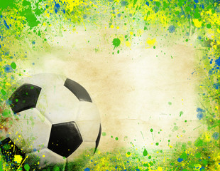 Soccer ball and the colors of Brazil flag