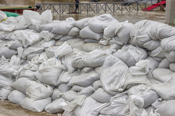 pile of sandbags for flood defense 2