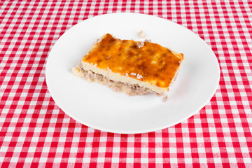 potato pie on a white plate