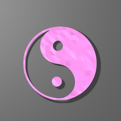 pink low poly ying yang sign