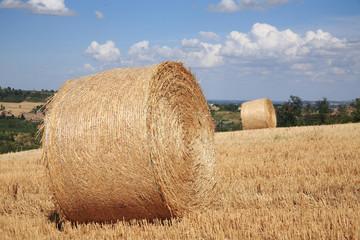 rotoballe di paglia paesaggio di campagna