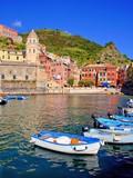 Harbor view of a Italian coastal village at the Cinque Terre