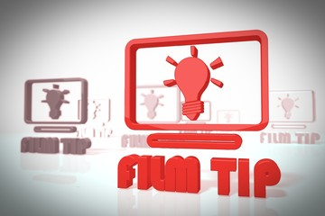 stylish 3d scene with film tip symbol