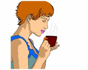 donna degusta una tisana