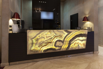 Marble reception desk in hotel