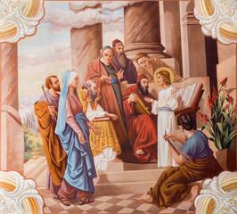 Little Jesus teaching in the temple.