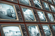 Wall of old TV screens - 65876110