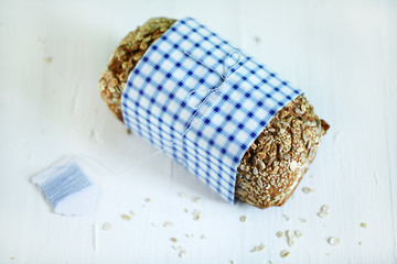 Danish Rye whole grain bread loaf with seeds and rolled oats