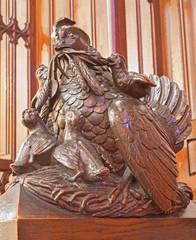 Bratislava - Clocking hens symbolic sculpture in cathedral