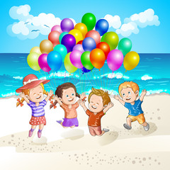 Kids with balloons at the beach