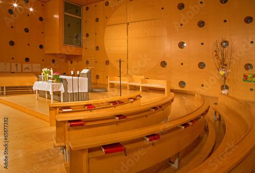 Vienna -  Interior of modern chapel in Unocity