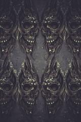 Tattoo art illustration, skulls wall