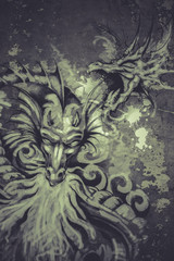 Tattoo art illustration, dragons