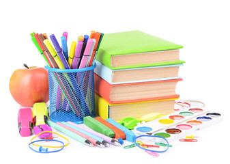 Bright school supplies isolated on white
