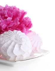Beautiful peony flower and marshmallow dessert, isolated