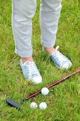 Female golf player at golf course