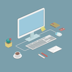 Illustration of an office workstation in flat style