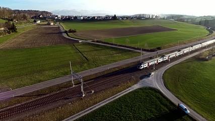 Luftaufnahme Eisenbahn SBB Schweiz