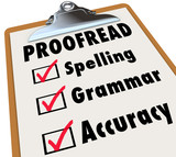 Proofread Clipboard Checklist Spelling Grammar Accuracy poster