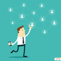 Businessman and Social network