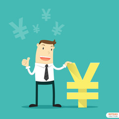 Businessman with Japanese Yen sign