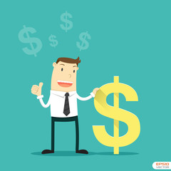 Businessman with Us Dollar sign