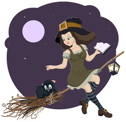 Beautiful young witch broom with cat