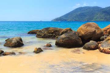 Black sand beach of island Ilha Grande,  Brazil