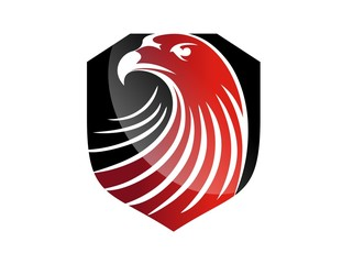 hawk logo eagle symbol red head icon black emblem