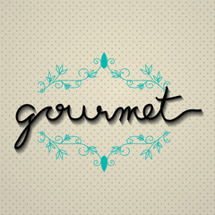 gourmet typo vector with floral frame, EPS 10