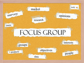 Focus Group Corkboard Word Concept