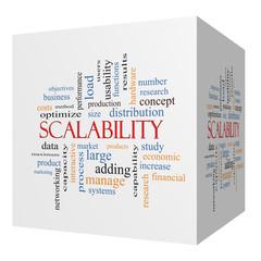 Scalability 3D cube Word Cloud Concept
