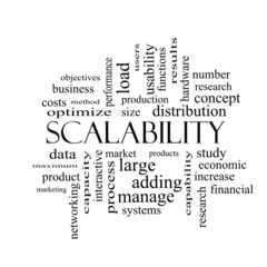 Scalability Word Cloud Concept in black and white