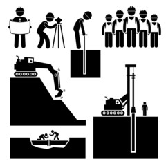Construction Civil Engineering Earthworks Worker Icon Cliparts