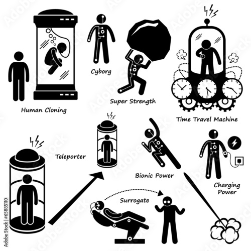 Far Future of Human Technology Science Fiction Icon Cliparts - 65885110