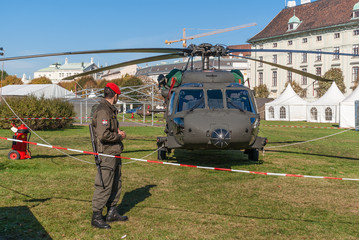 Austria, Vienna, army helicopter on the lawn at the Hofburg