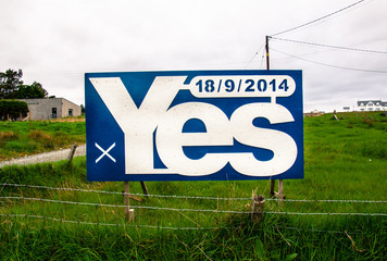 Blue billboard with the word YES written on it