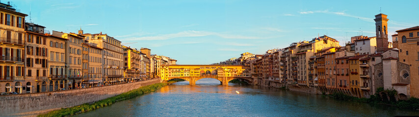 View of Gold (Ponte Vecchio) Bridge in Florence, panorama