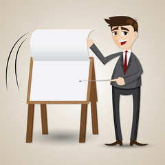 cartoon businessman flip paper on presentation board