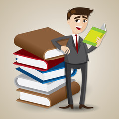 cartoon businessman reading with stack of book