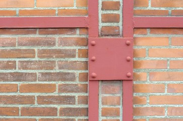 Brick wall with iron enforcement