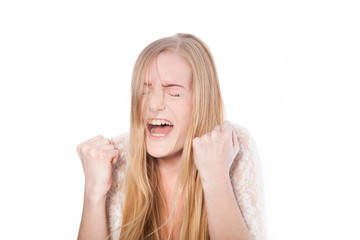 Female Model Screaming with Eyes Closed