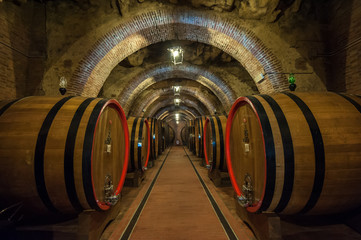 Wine barrels (botti) in a Montepulciano cellar, Tuscany