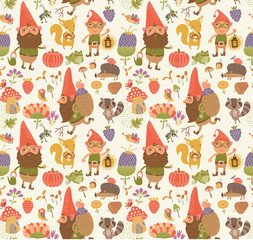 Seamless pattern with funny gnomes