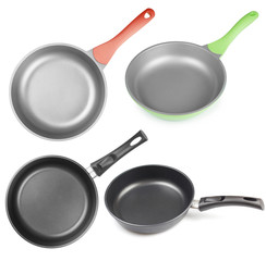 frying pans os skillets set isolated