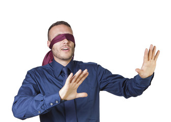 young businessman in blindfold isolated on a white background